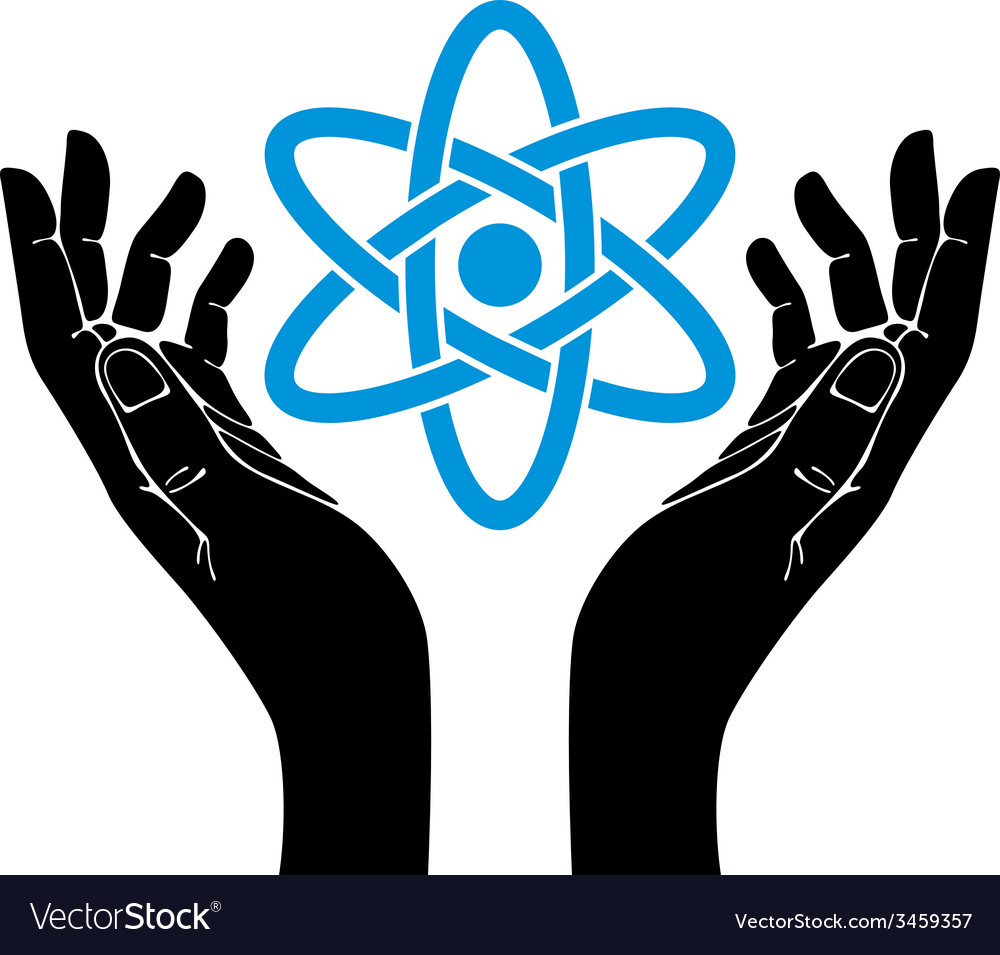 Hands with atom symbol vector | Price: 1 Credit (USD $1)
