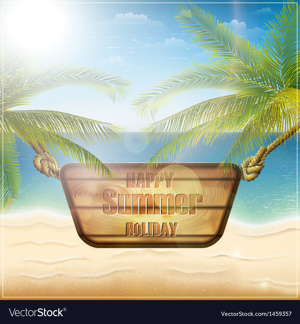 Happy summer holiday card vector | Price: 3 Credit (USD $3)