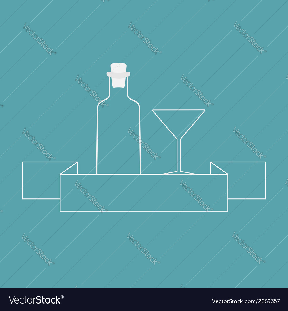 Martini glass bottle and ribbon contour vector | Price: 1 Credit (USD $1)