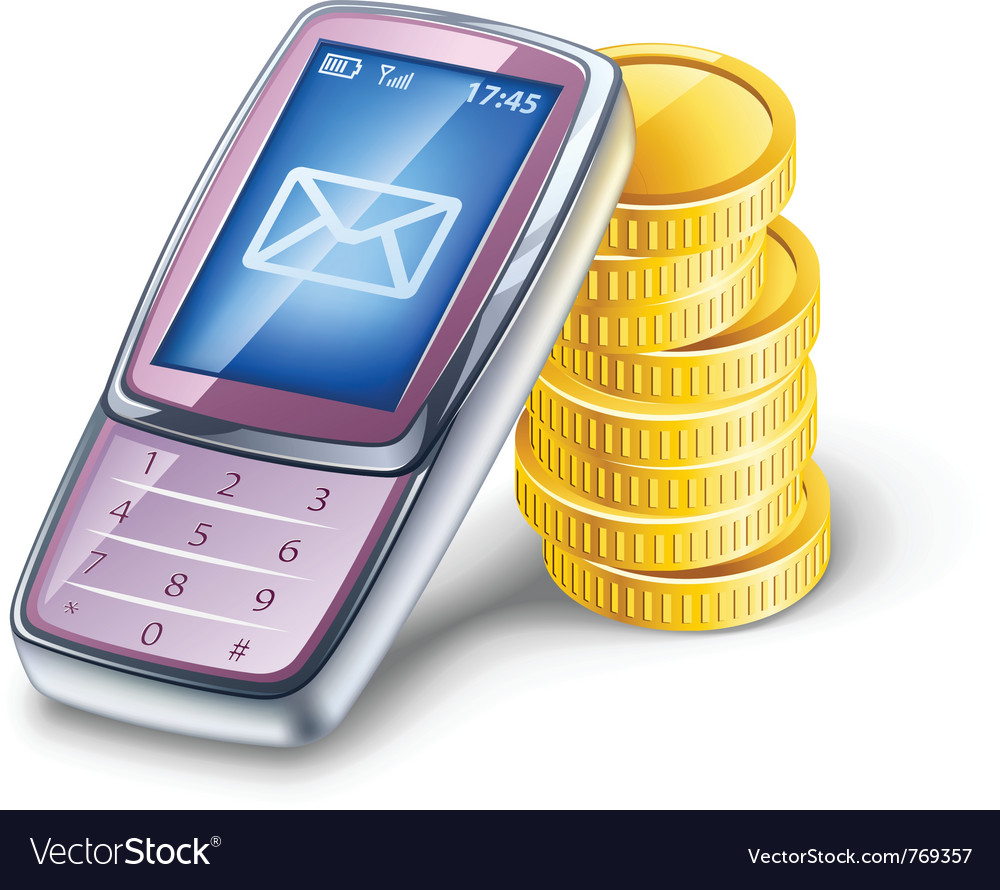 Mobile phone and coins vector | Price: 3 Credit (USD $3)