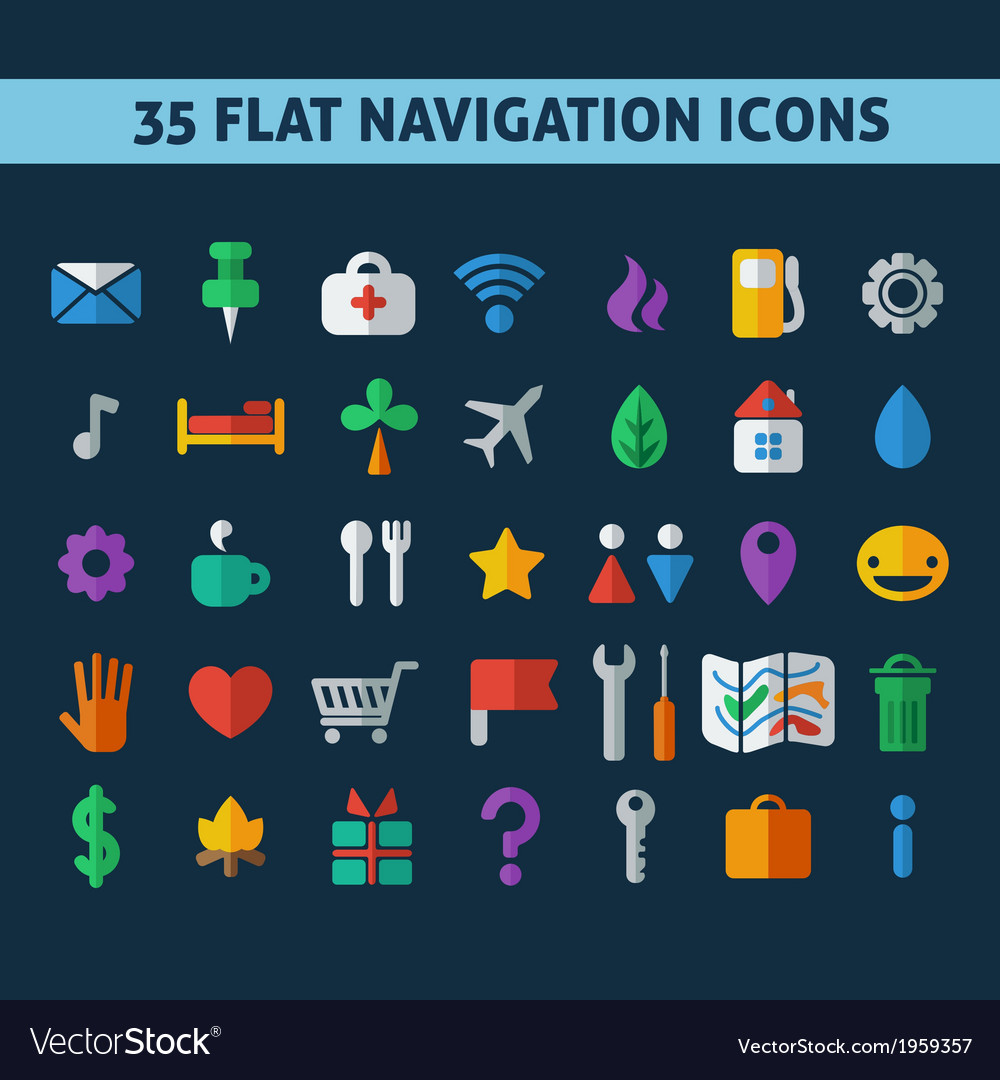 Navigation icons vector | Price: 1 Credit (USD $1)