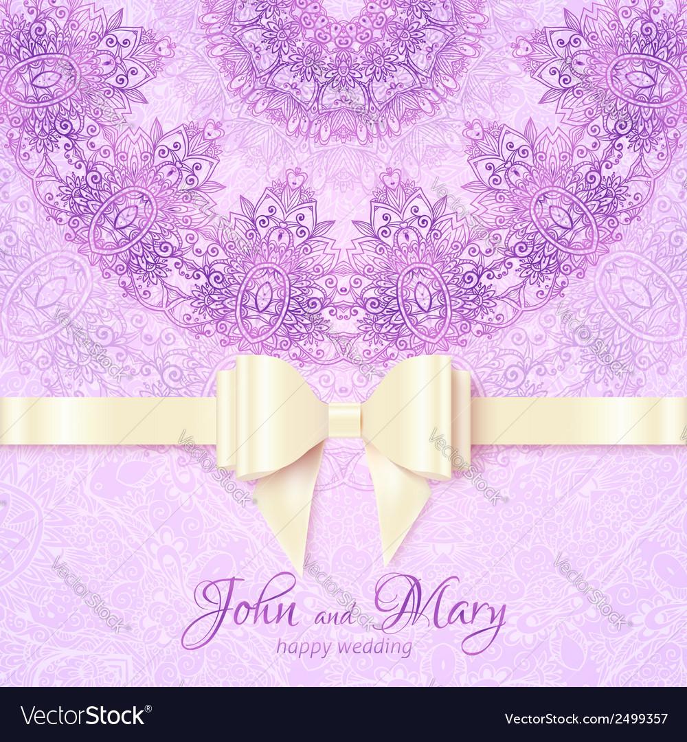 Purple vintage lacy wedding card template vector | Price: 1 Credit (USD $1)