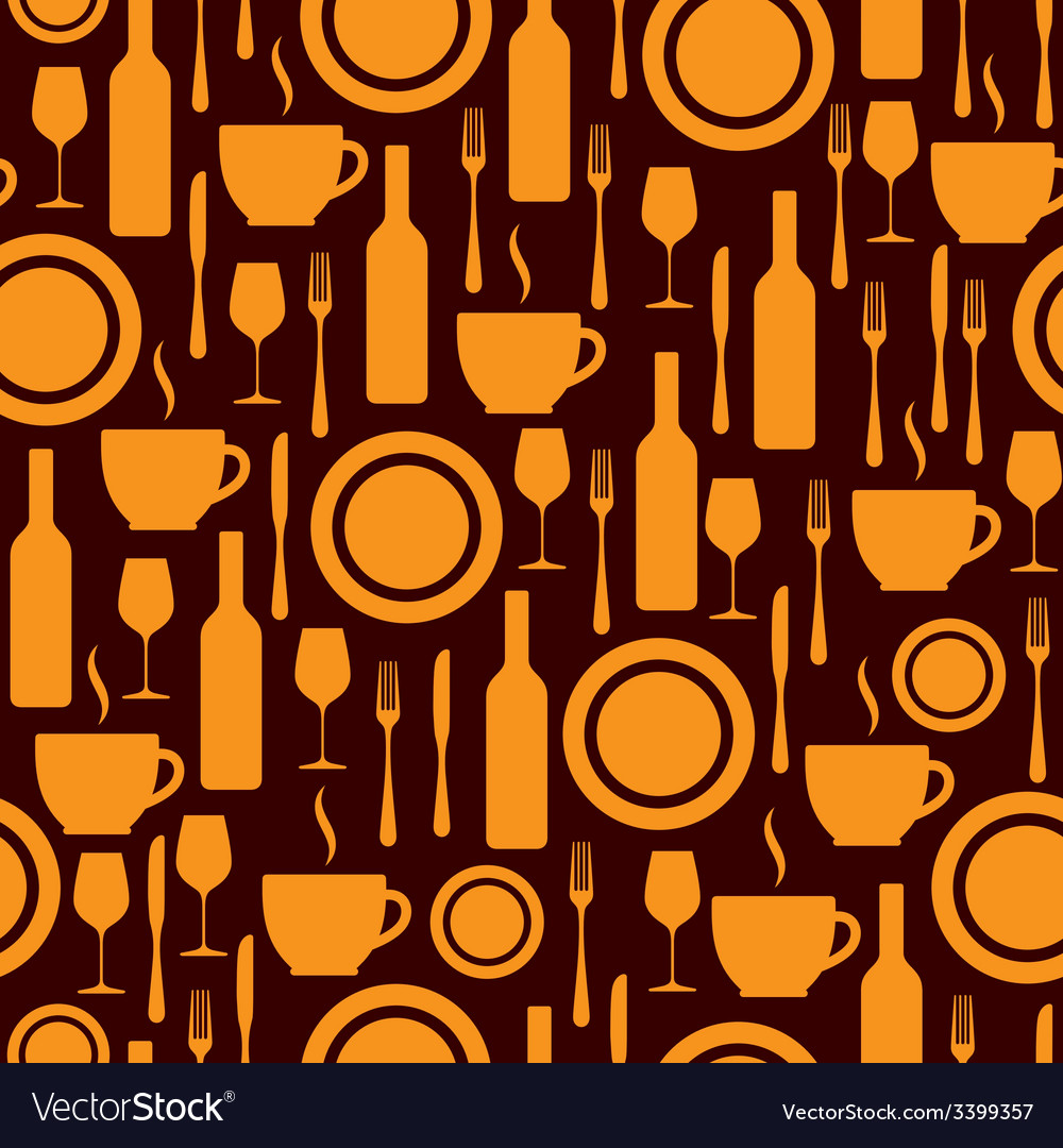 Seamless pattern with kitchen utensils vector | Price: 1 Credit (USD $1)