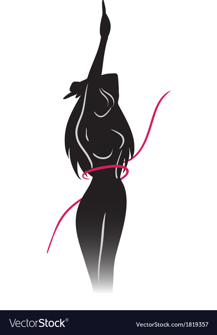 Silhouette of slender girl and ribbon vector | Price: 1 Credit (USD $1)