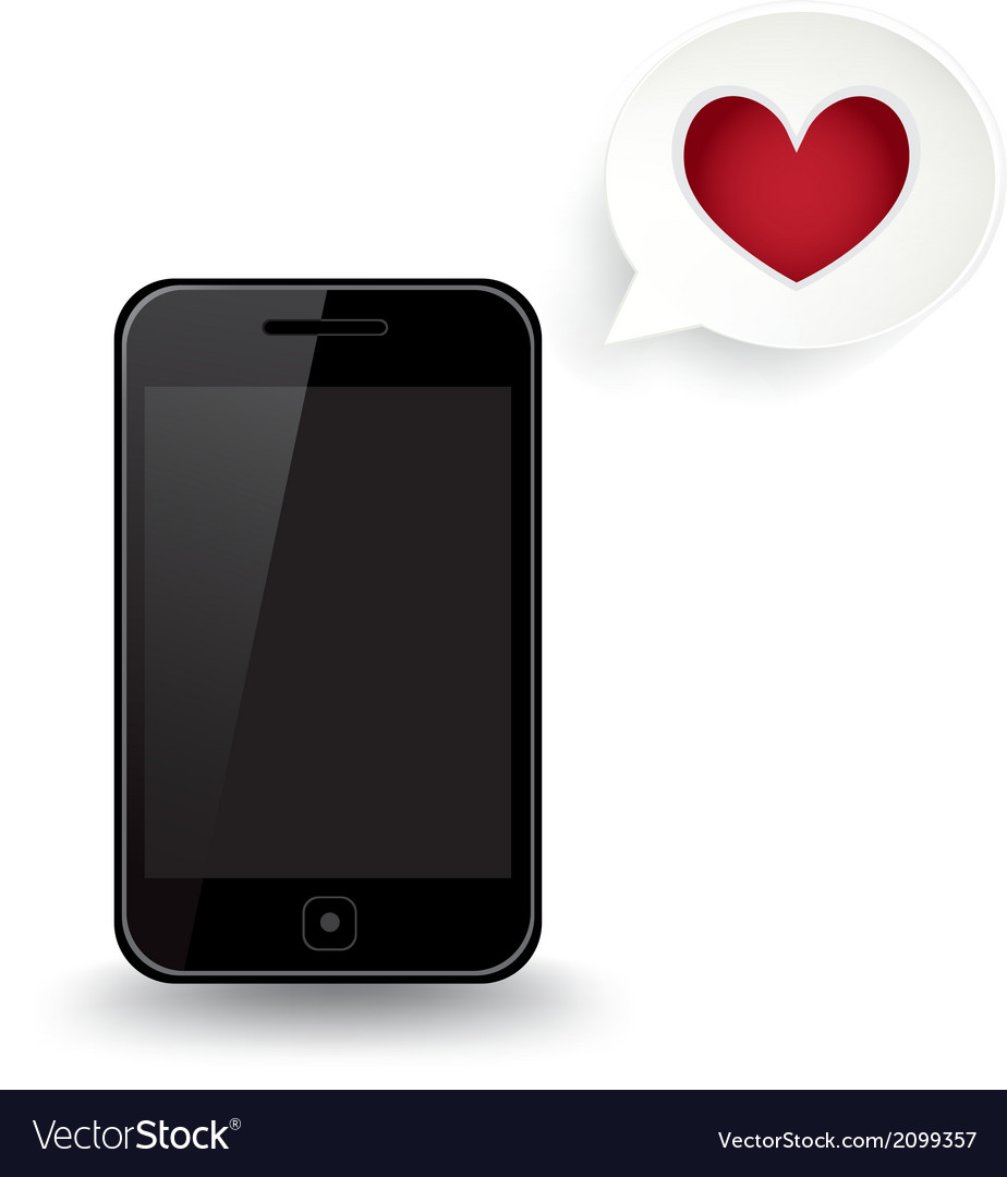 Smart phone love vector | Price: 1 Credit (USD $1)
