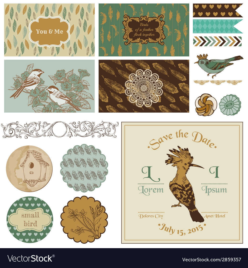 Vintage bird party set - for party decoration vector | Price: 1 Credit (USD $1)