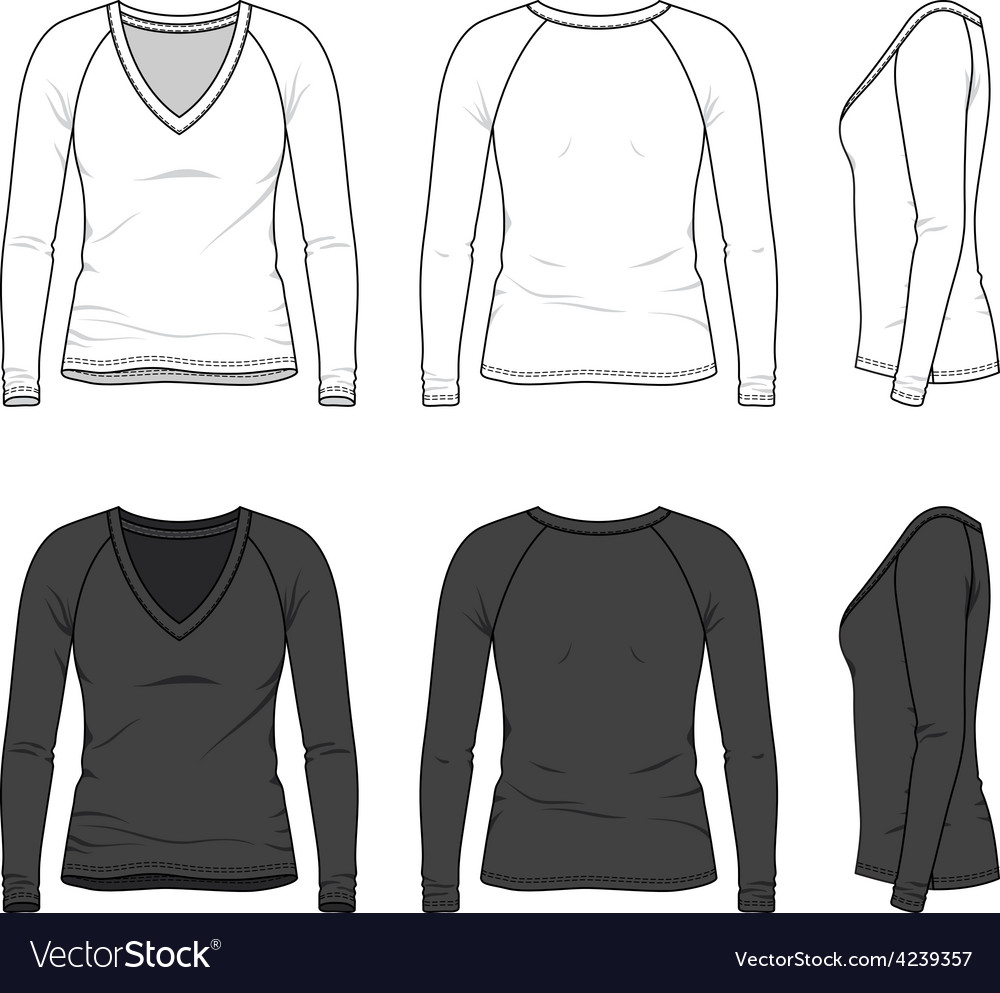 V-neck tee with raglan sleeve vector | Price: 1 Credit (USD $1)
