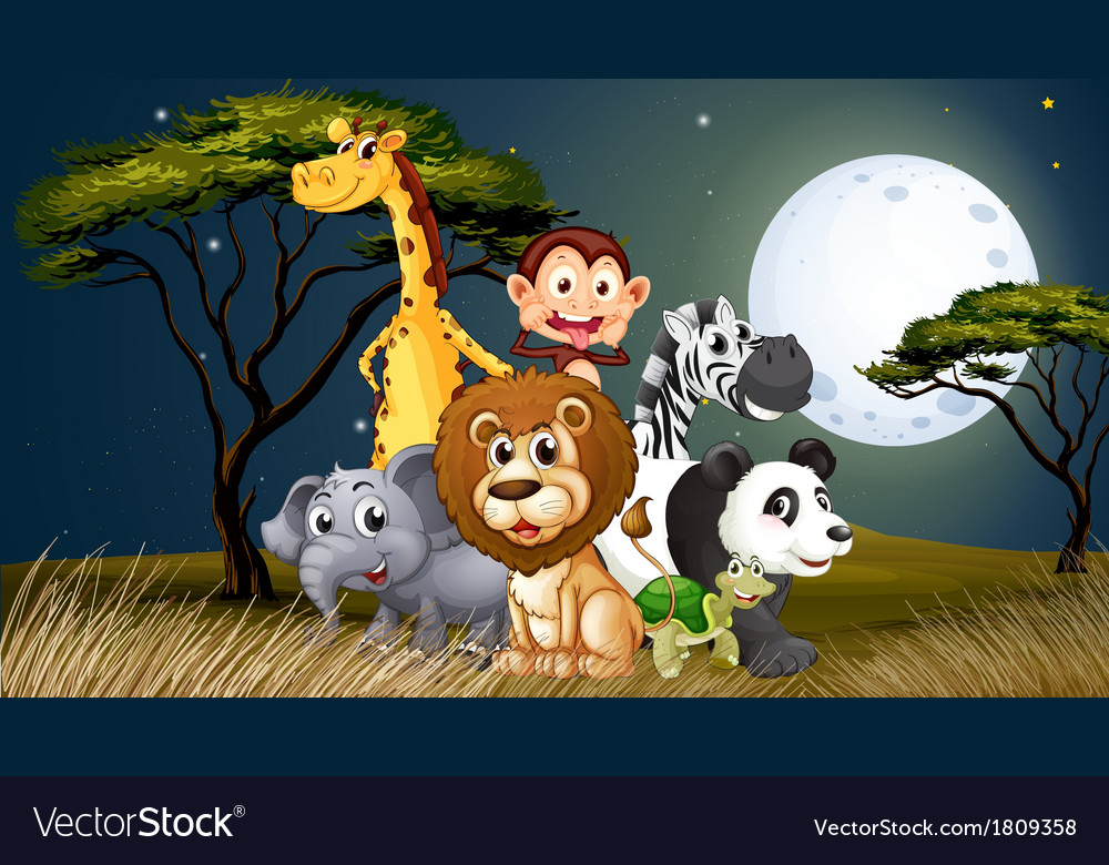 A group of playful animals under the bright vector | Price: 1 Credit (USD $1)