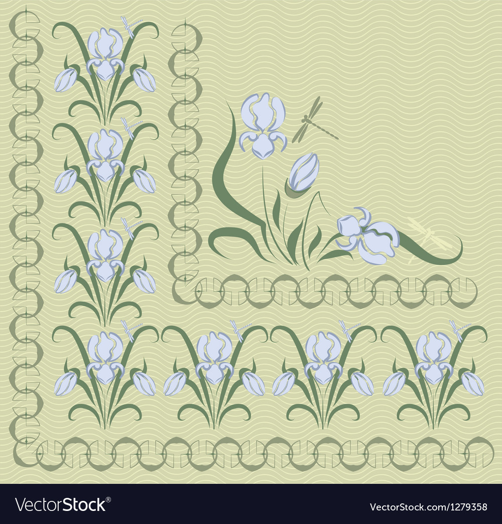 Background with blue irises vector | Price: 1 Credit (USD $1)