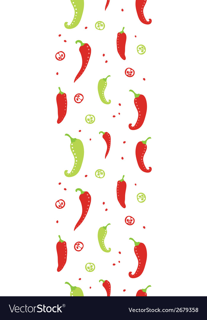 Chili peppers red and green vertical seamless vector | Price: 1 Credit (USD $1)