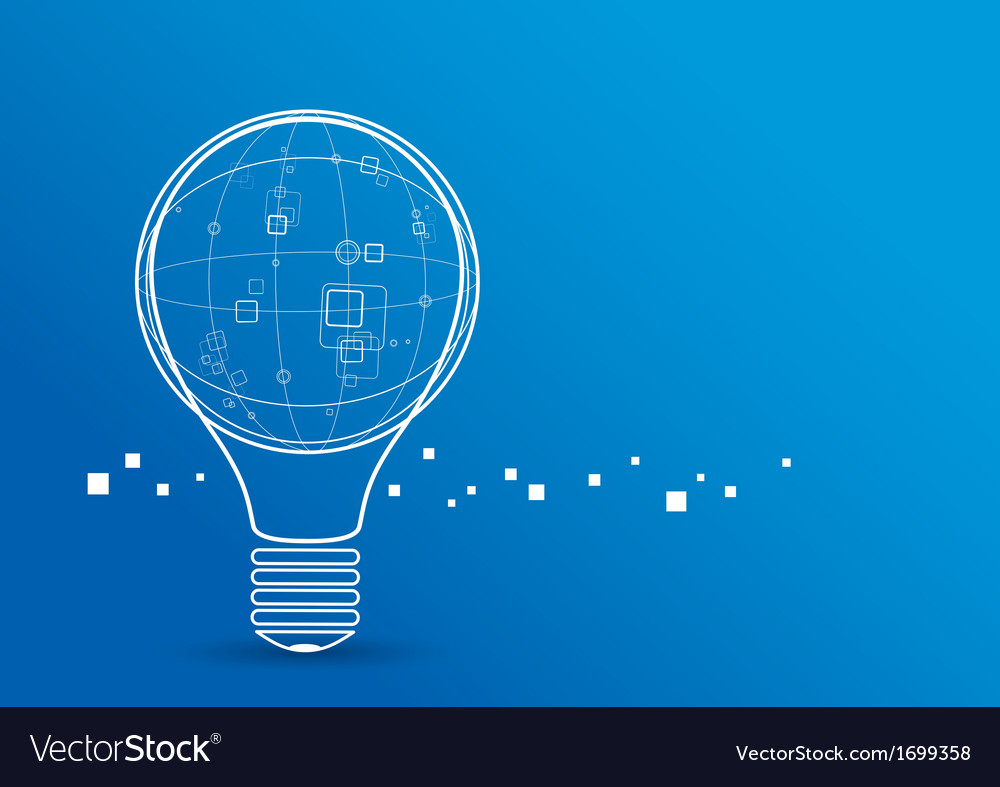 Creative light bulb with global design on blue bac vector | Price: 1 Credit (USD $1)