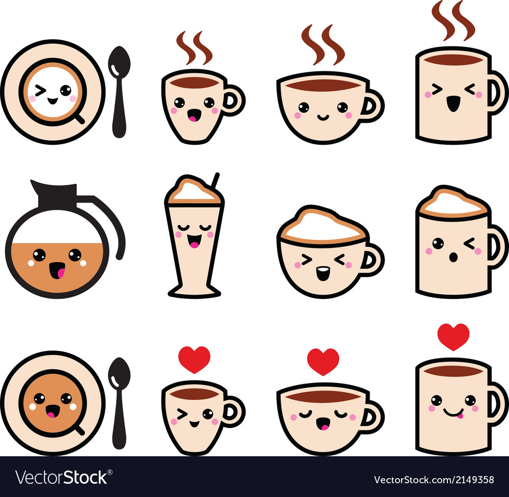 Cute coffee cappuccino and espresso kawaii icon vector | Price: 1 Credit (USD $1)