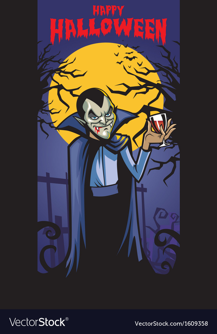 Dracula with a glass of blood vector | Price: 1 Credit (USD $1)