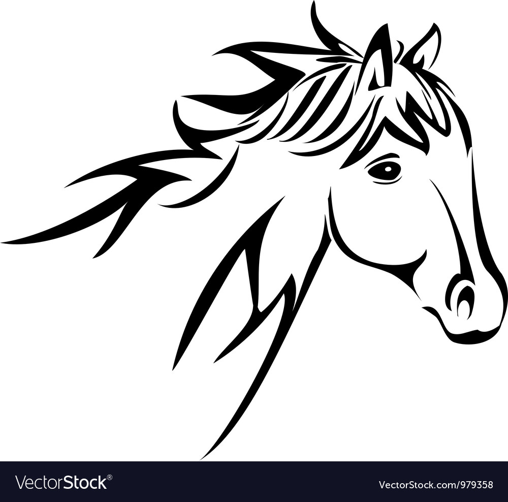 Horse head silhouette vector | Price: 1 Credit (USD $1)