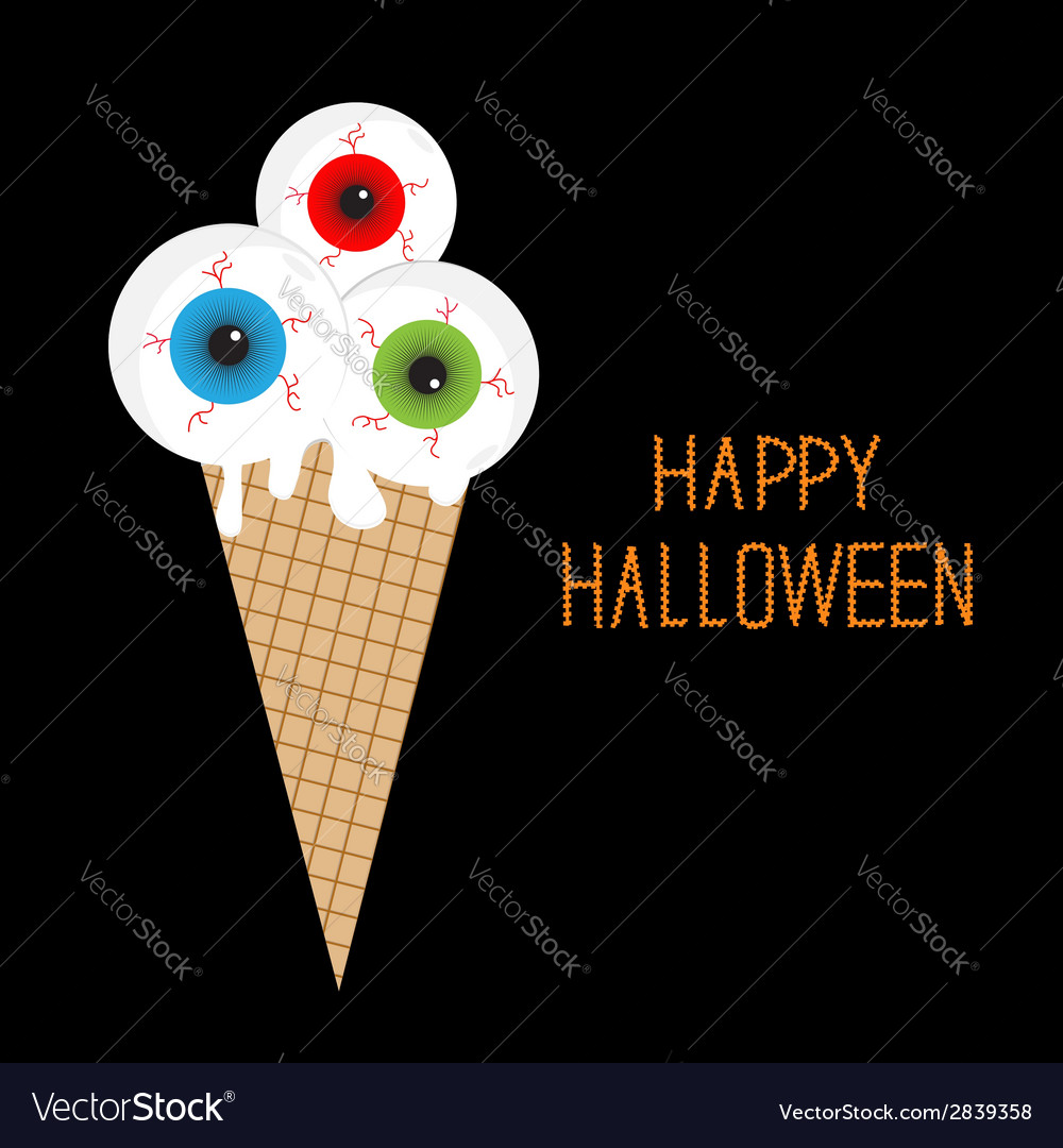 Ice cream with eyeballs bloody streaks halloween vector | Price: 1 Credit (USD $1)