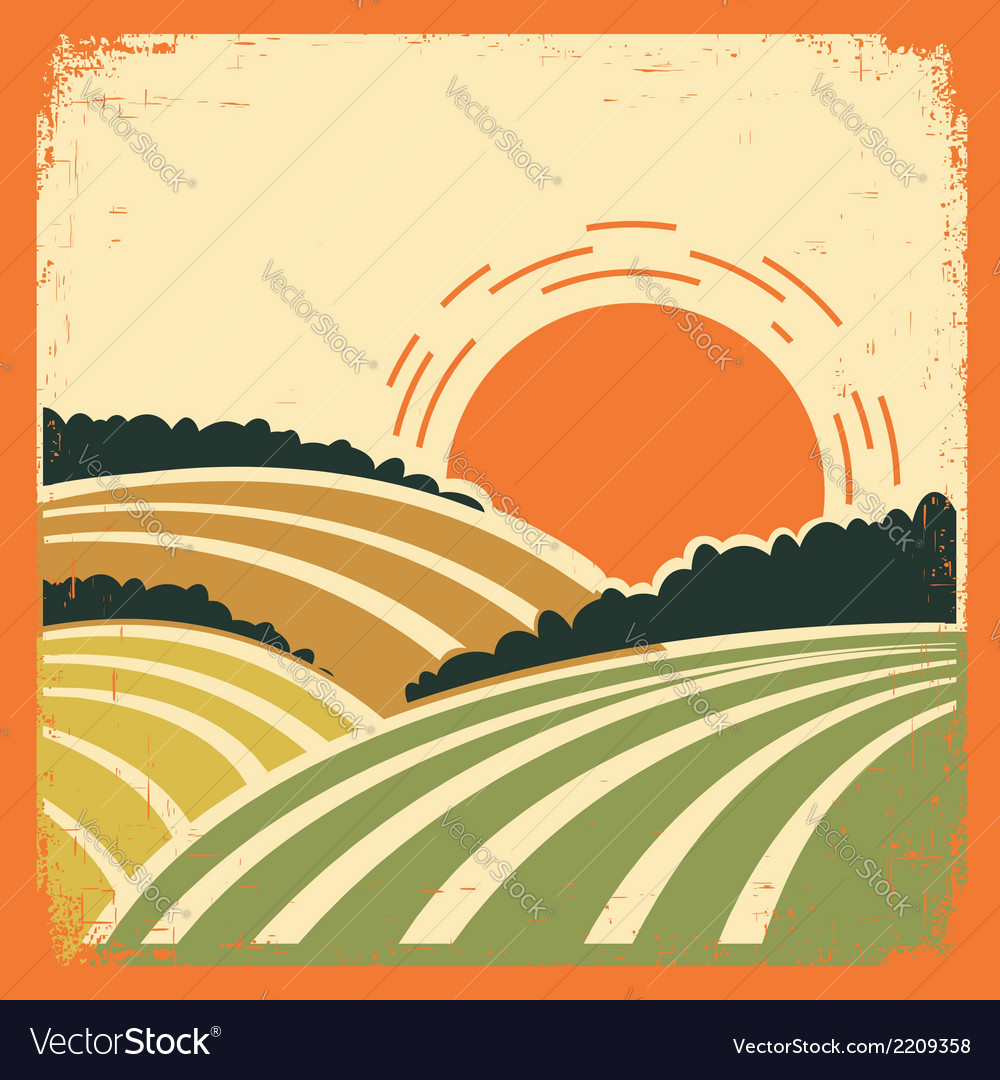 Landscape with fields on old poster vector | Price: 1 Credit (USD $1)