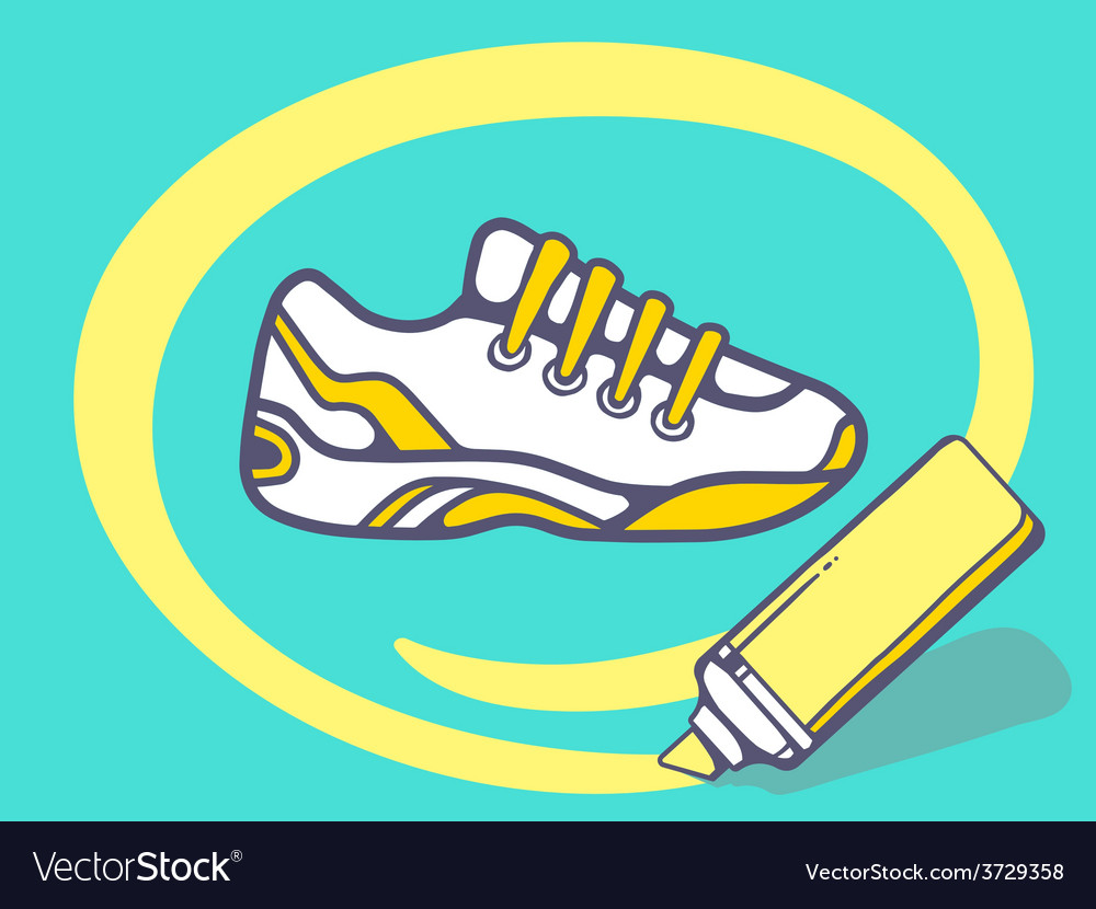 Marker drawing circle around sneaker on g vector | Price: 1 Credit (USD $1)