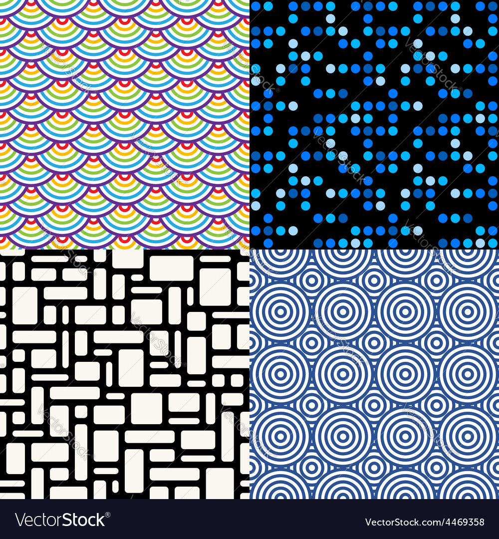 Seamless patterns set 6 abstract geometric vector | Price: 1 Credit (USD $1)
