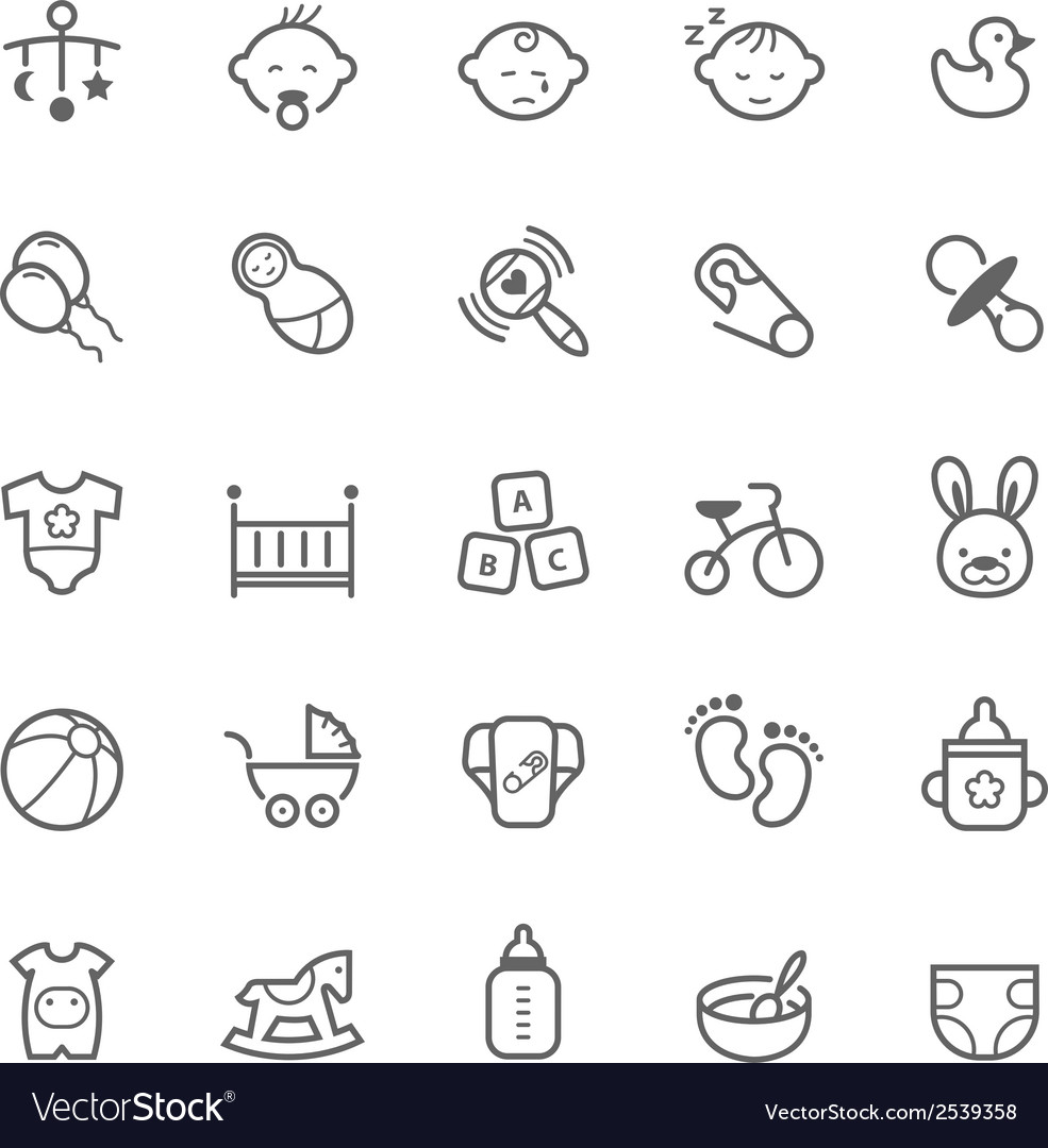 Set of outline stroke baby icon vector | Price: 1 Credit (USD $1)
