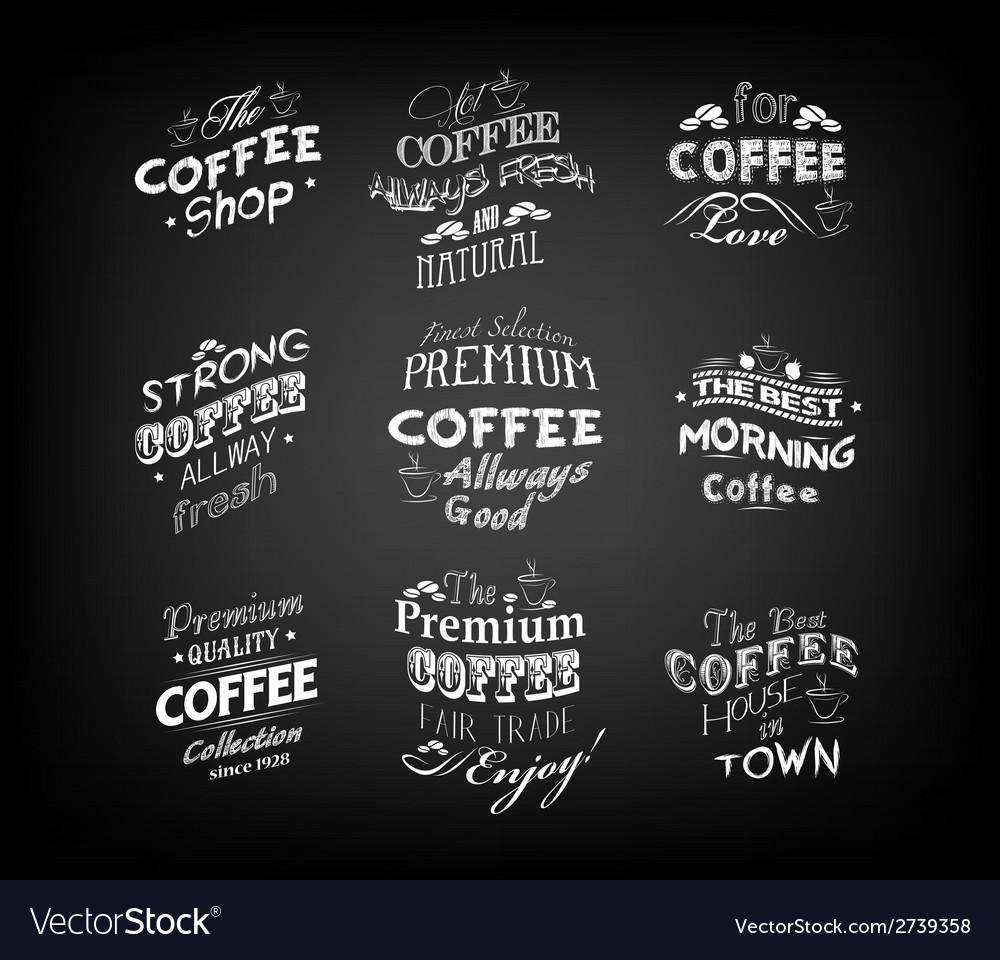 Set of vintage retro coffee labels vector | Price: 1 Credit (USD $1)