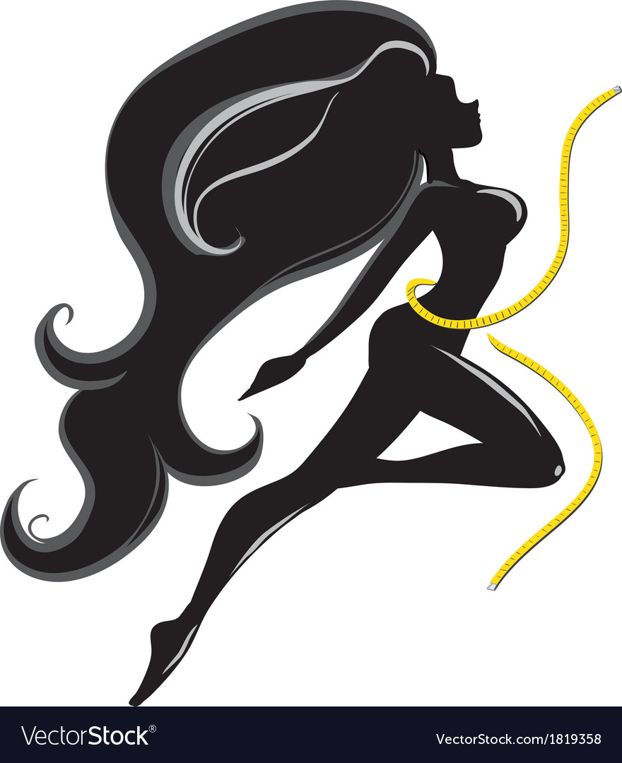 Silhouette of slender girl with tape vector | Price: 1 Credit (USD $1)