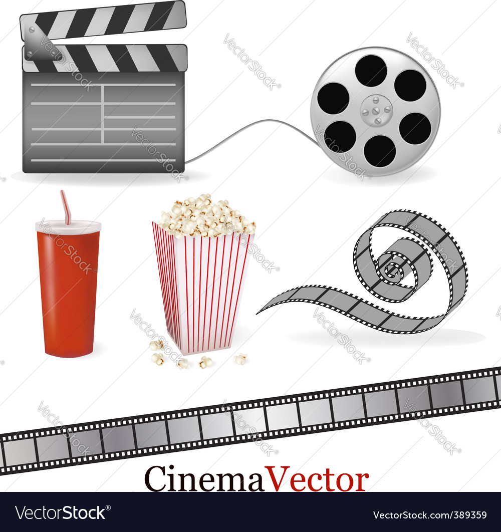 Big set of cinema elements vector | Price: 1 Credit (USD $1)
