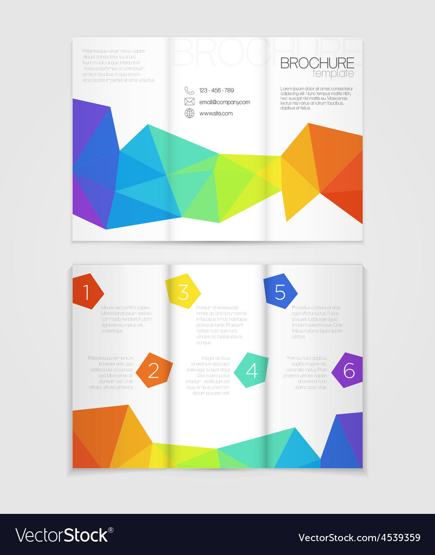 Brochure template design with rainbow elements vector