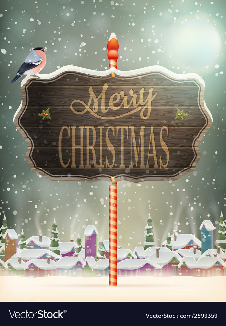 Christmas vintage greeting card on winter village vector | Price: 3 Credit (USD $3)
