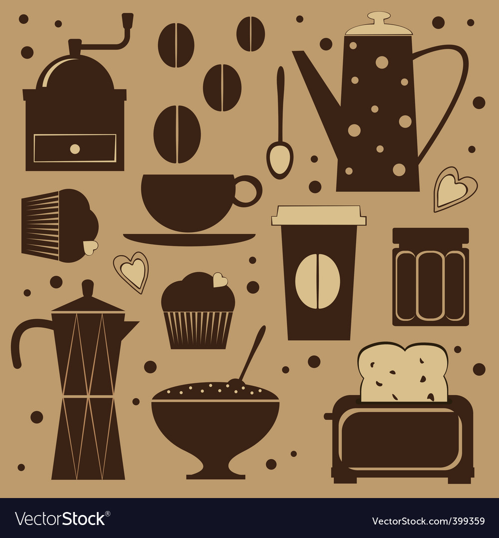 Coffee set vector | Price: 3 Credit (USD $3)
