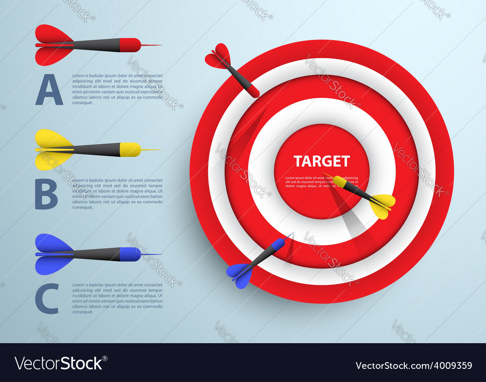 Dart and target infographic template business con vector | Price: 1 Credit (USD $1)