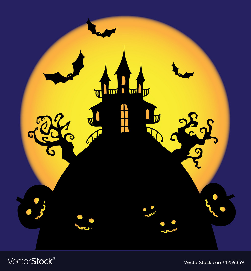 Halloween castle card vector | Price: 1 Credit (USD $1)