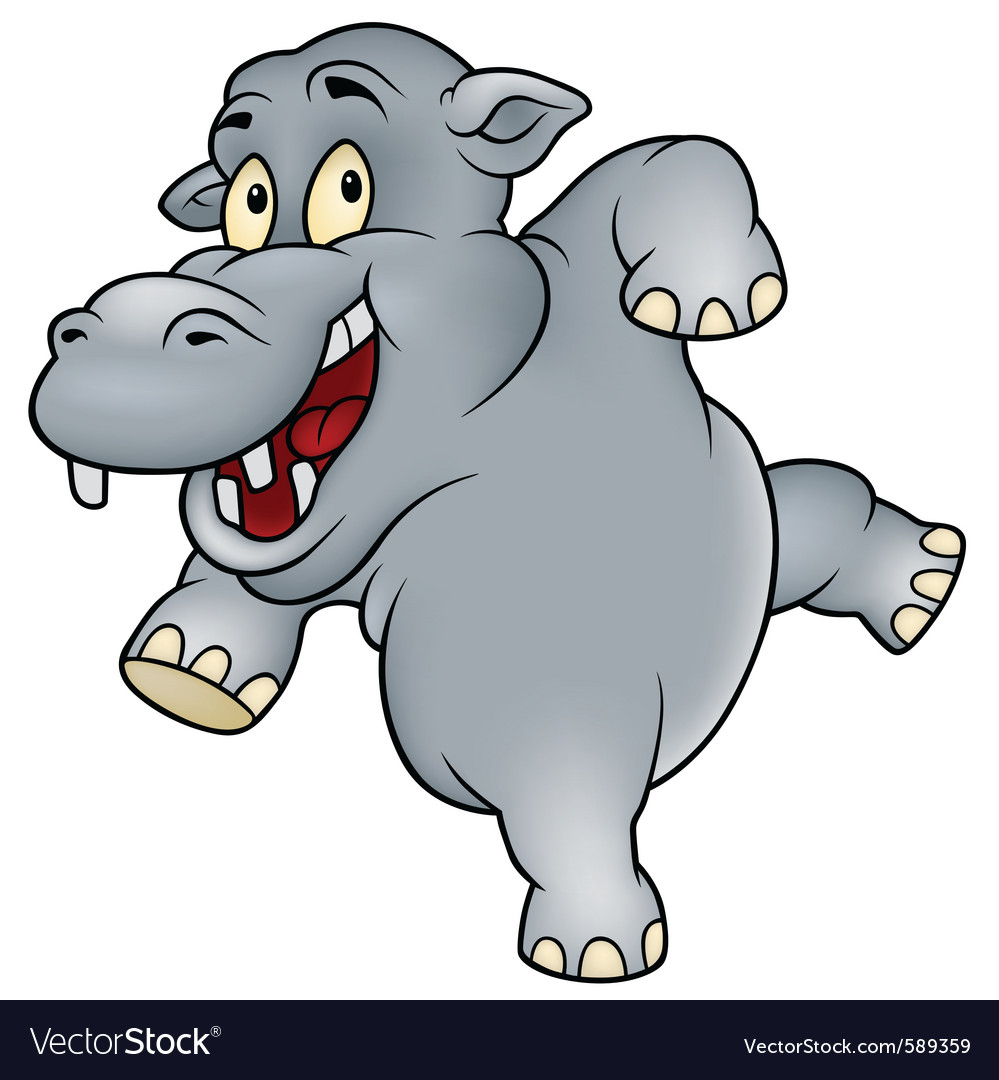 Happy hippo vector | Price: 1 Credit (USD $1)