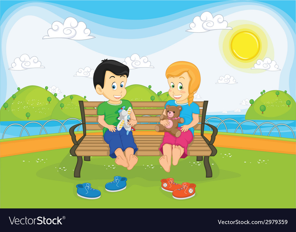 Kids sitting on bench vector | Price: 1 Credit (USD $1)