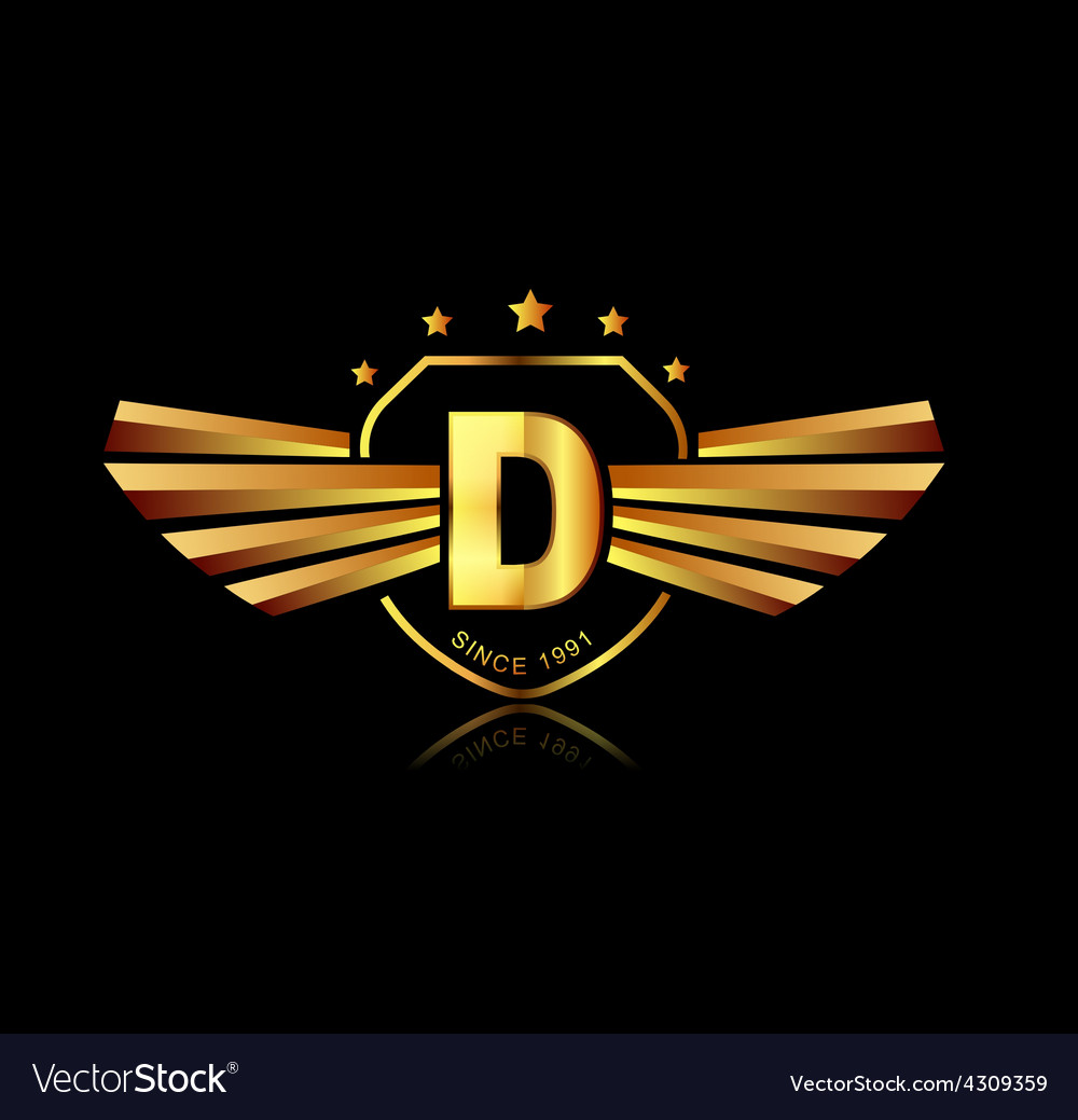 Letter d winged crests logo alphabet logotype vector | Price: 1 Credit (USD $1)