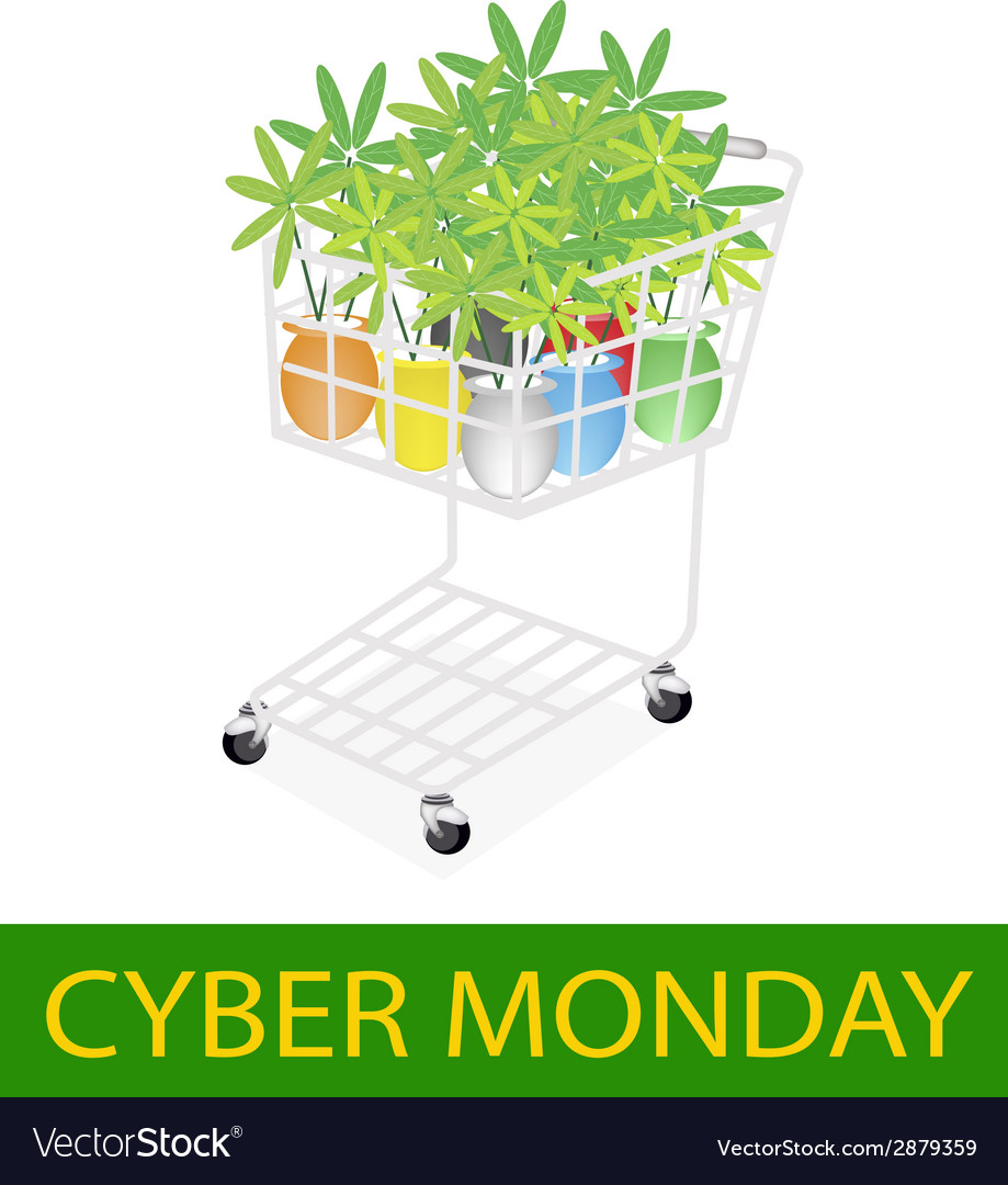 Lovely tree pot in cyber monday shopping cart vector   Price: 1 Credit (USD $1)