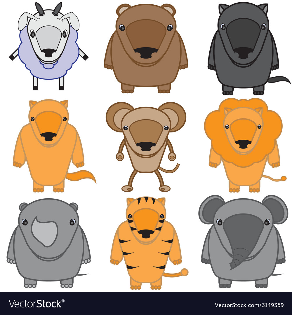 Set of baby animals cartoon vector | Price: 1 Credit (USD $1)