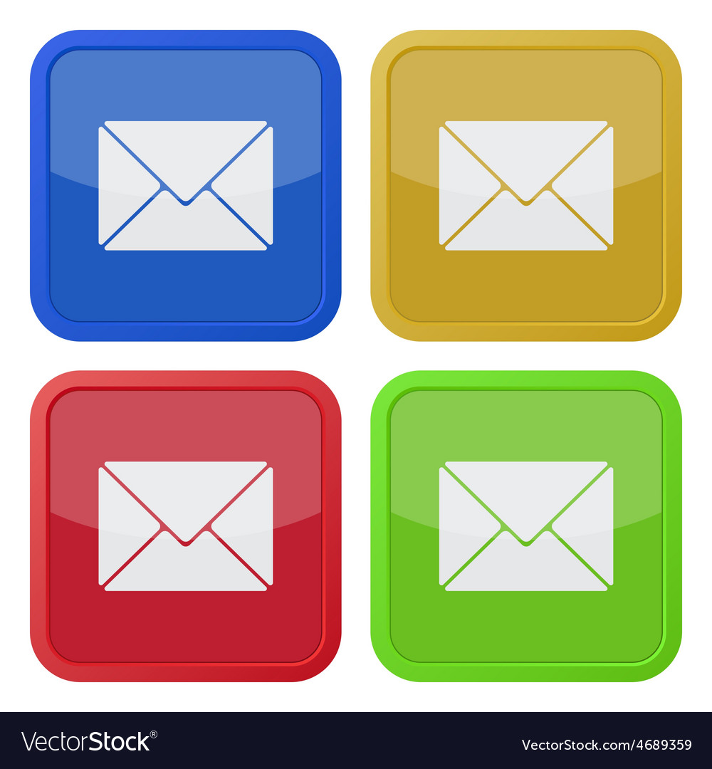 Set of four square icons with envelope vector | Price: 1 Credit (USD $1)