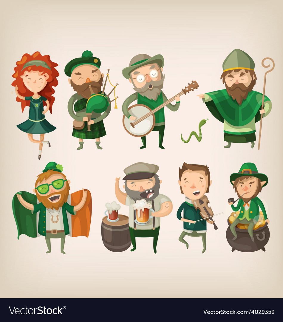 Set of irish characters vector | Price: 3 Credit (USD $3)
