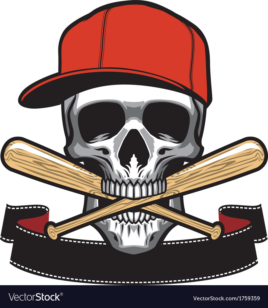 Skull bite a baseball bat vector | Price: 1 Credit (USD $1)