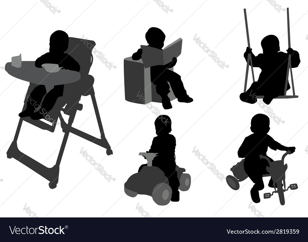 Toddlers silhouettes vector | Price: 1 Credit (USD $1)