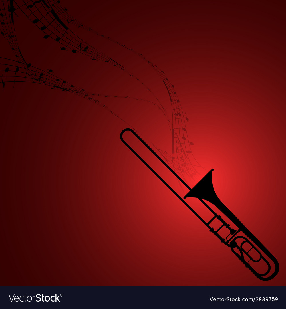 Trombone with musical symbols vector | Price: 1 Credit (USD $1)