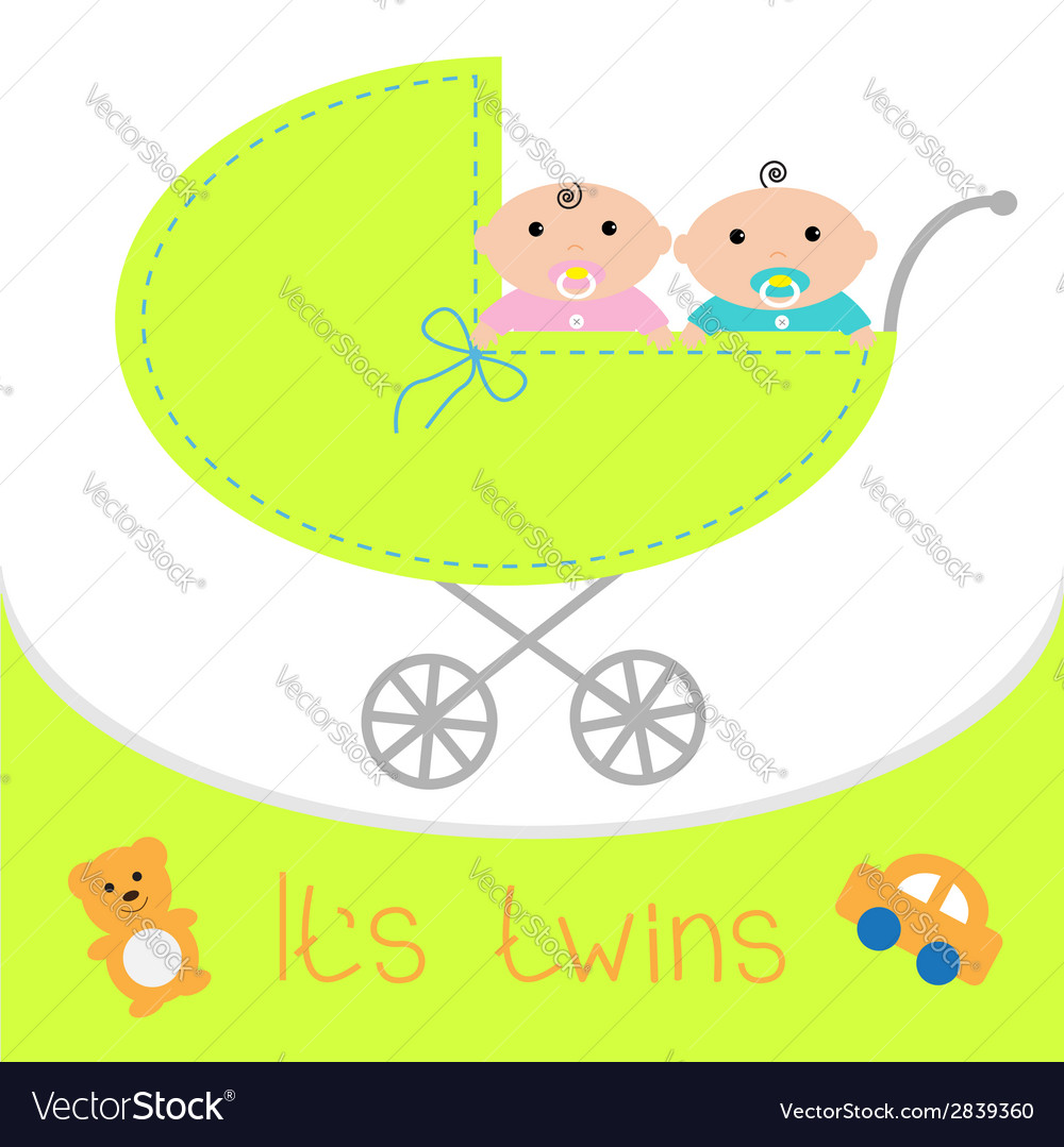 Baby carriage its twins boy and girl shower card vector | Price: 1 Credit (USD $1)