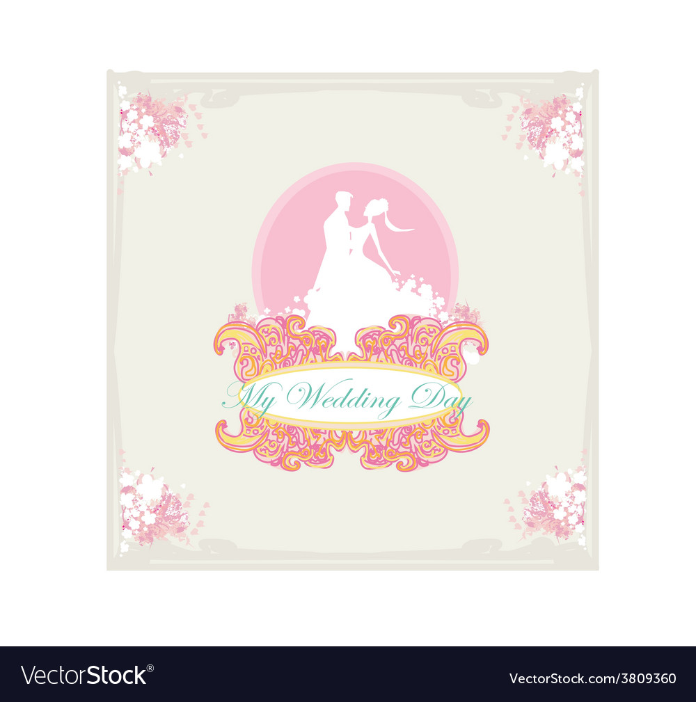 Ballroom dancers silhouettes - wedding invitation vector | Price: 1 Credit (USD $1)
