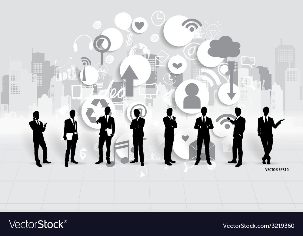 Businessman with cloud of application vector | Price: 1 Credit (USD $1)