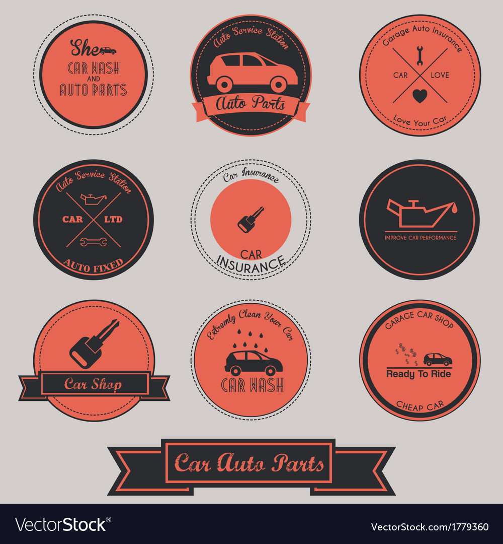 Car auto parts vintage label design vector | Price: 1 Credit (USD $1)