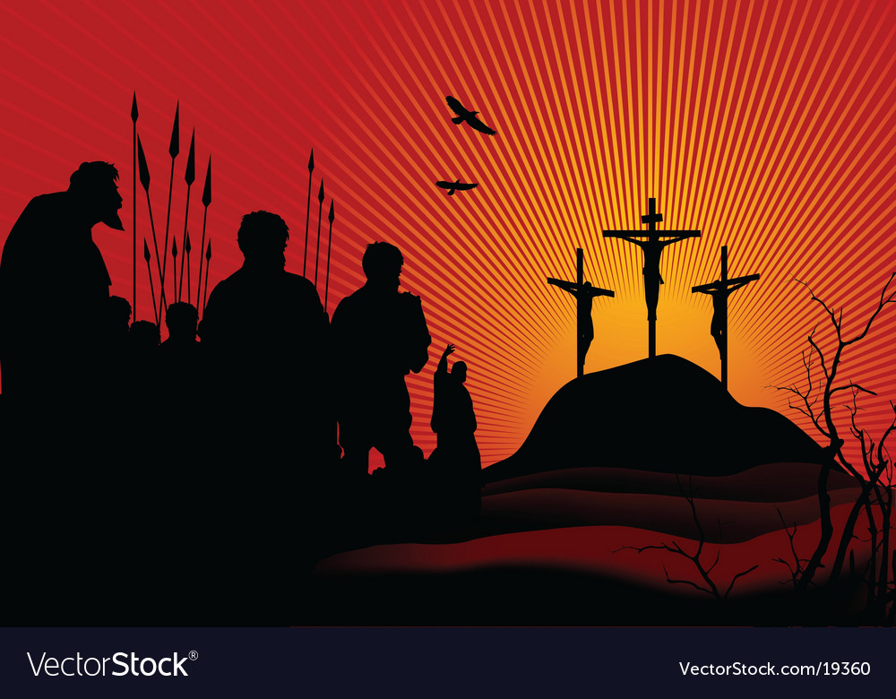 Crucifixion in red vector | Price: 1 Credit (USD $1)