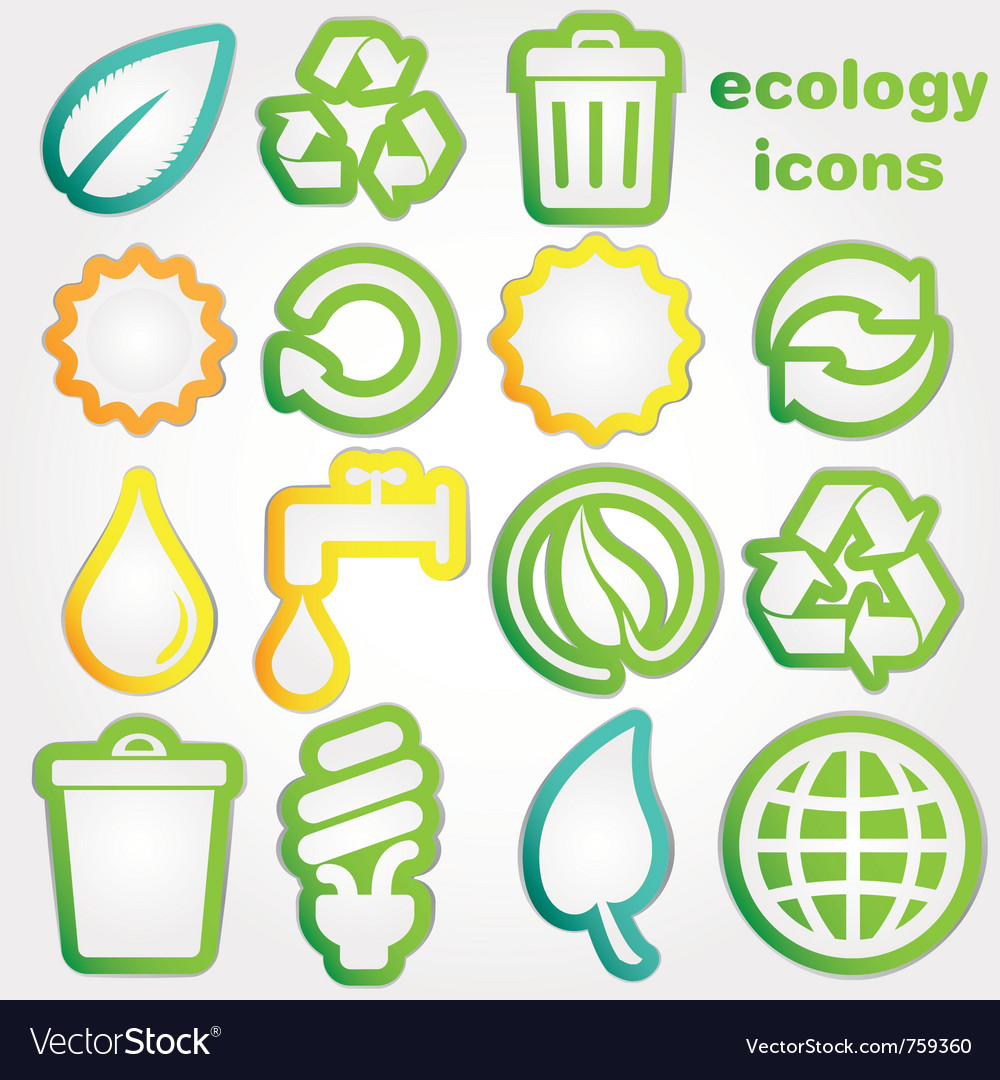 Ecology stickers vector | Price: 1 Credit (USD $1)