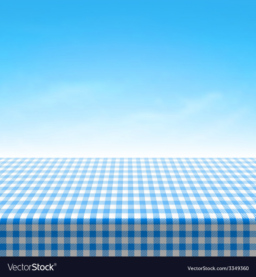 Empty picnic table covered with blue checkered tab vector | Price: 1 Credit (USD $1)