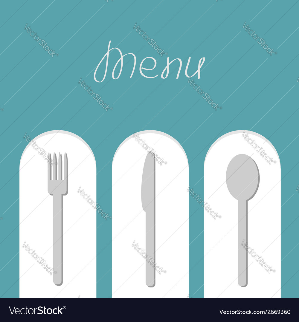 Fork spoon and knife on white arch menu card flat vector | Price: 1 Credit (USD $1)