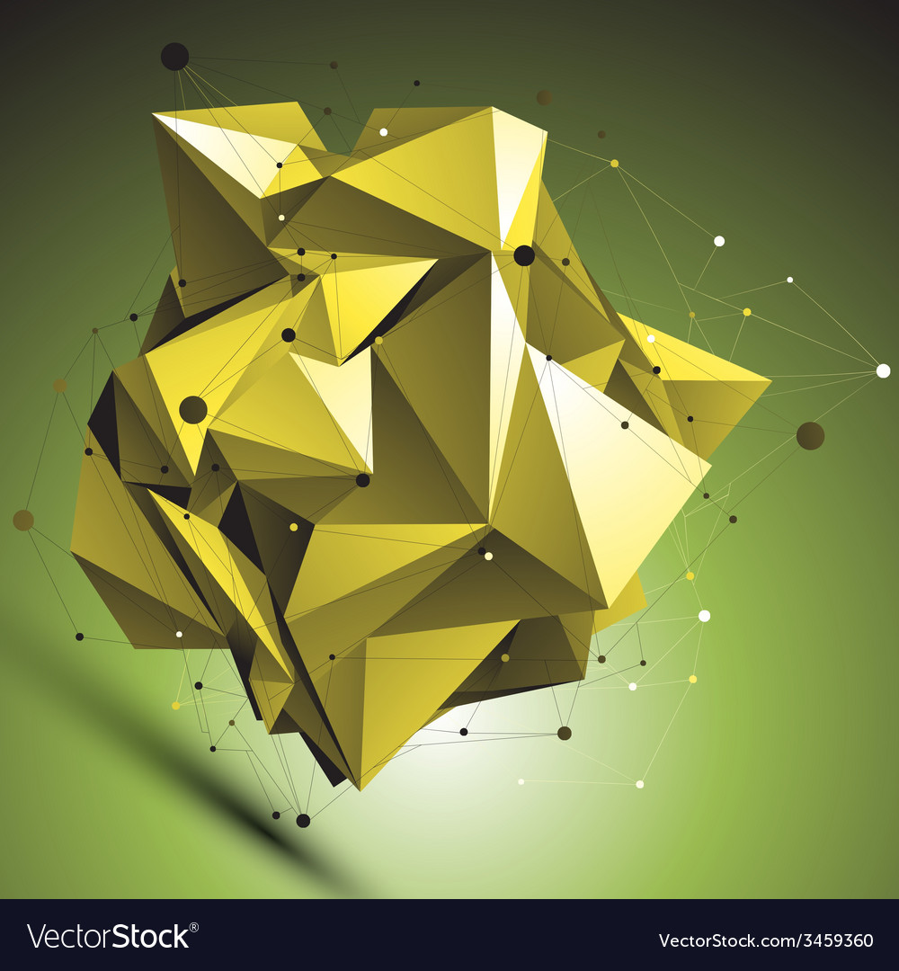 Gold abstract asymmetric object with lines mesh vector | Price: 1 Credit (USD $1)